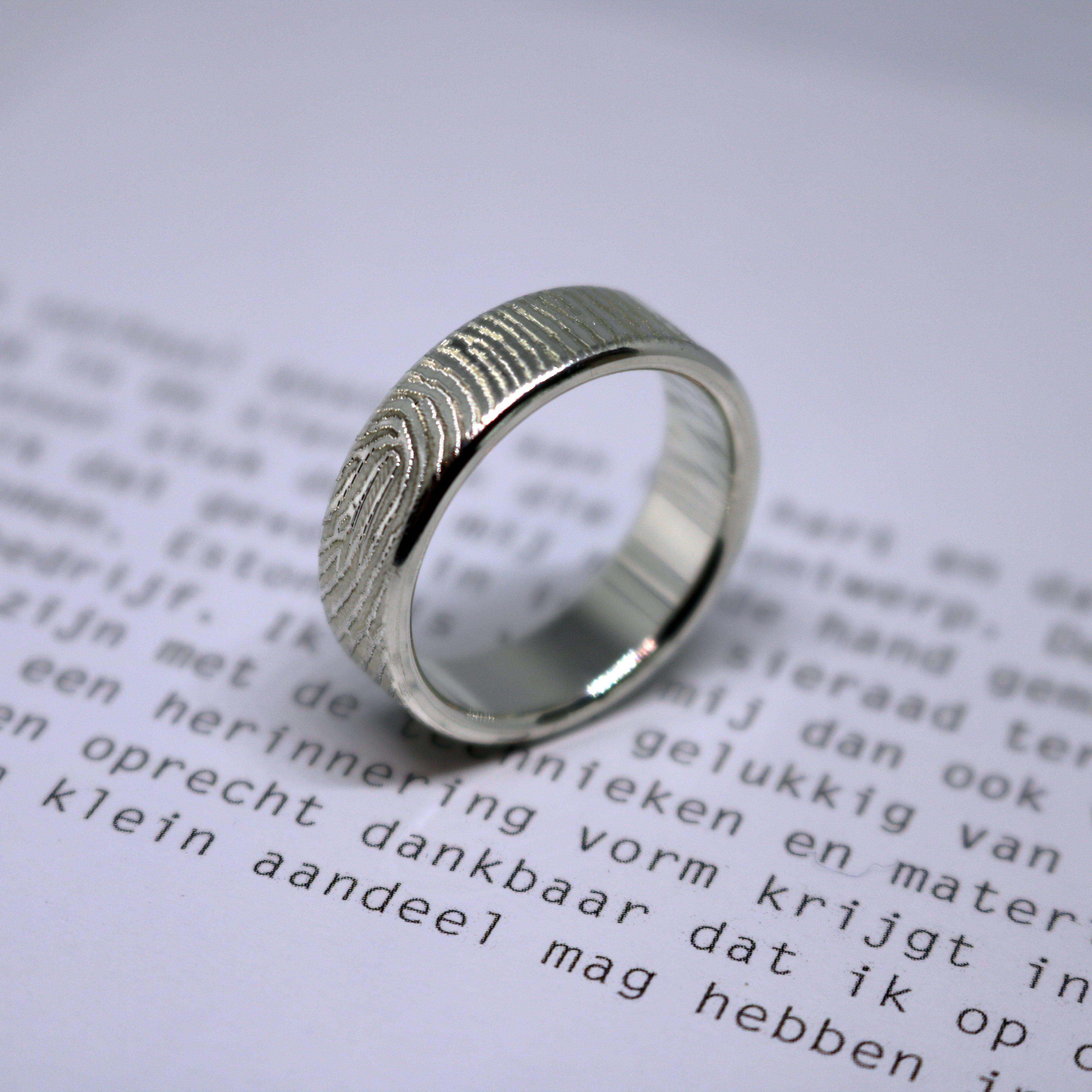 Ring vingerafdruk herinneringssieraad sieraden zilveren ring estona vingerafdruk